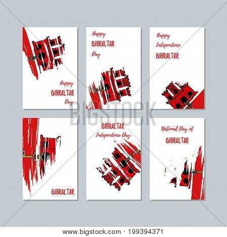 Gibraltar Patriotic Cards For National Day. Expressive Brush Stroke In National Flag Colors On White