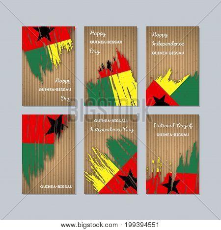 Guinea-bissau Patriotic Cards For National Day. Expressive Brush Stroke In National Flag Colors On K
