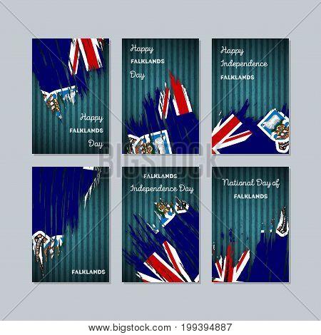 Falklands Patriotic Cards For National Day. Expressive Brush Stroke In National Flag Colors On Dark