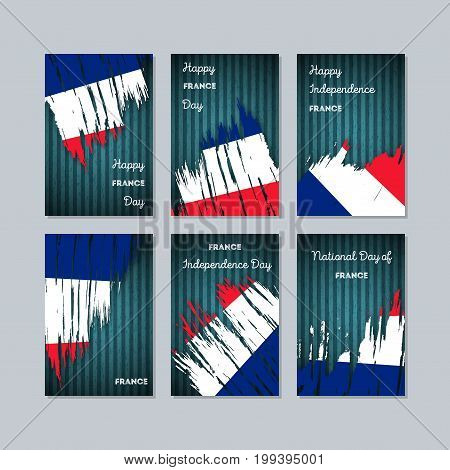 France Patriotic Cards For National Day. Expressive Brush Stroke In National Flag Colors On Dark Str