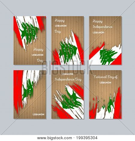 Lebanon Patriotic Cards For National Day. Expressive Brush Stroke In National Flag Colors On Kraft P