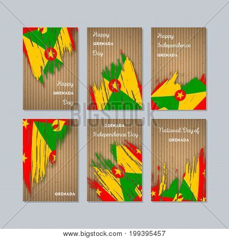 Grenada Patriotic Cards For National Day. Expressive Brush Stroke In National Flag Colors On Kraft P