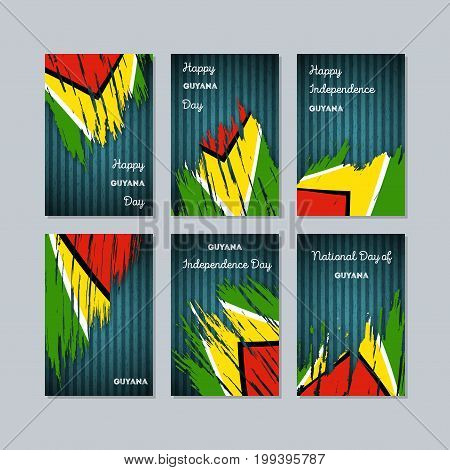 Guyana Patriotic Cards For National Day. Expressive Brush Stroke In National Flag Colors On Dark Str