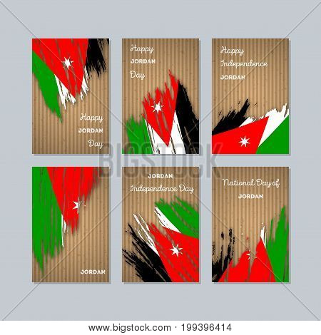 Jordan Patriotic Cards For National Day. Expressive Brush Stroke In National Flag Colors On Kraft Pa