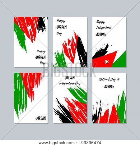 Jordan Patriotic Cards For National Day. Expressive Brush Stroke In National Flag Colors On White Ca