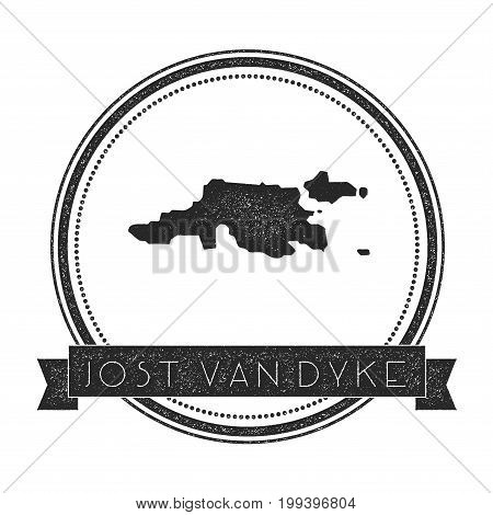 Jost Van Dyke Map Stamp. Retro Distressed Insignia. Hipster Round Badge With Text Banner. Island Vec