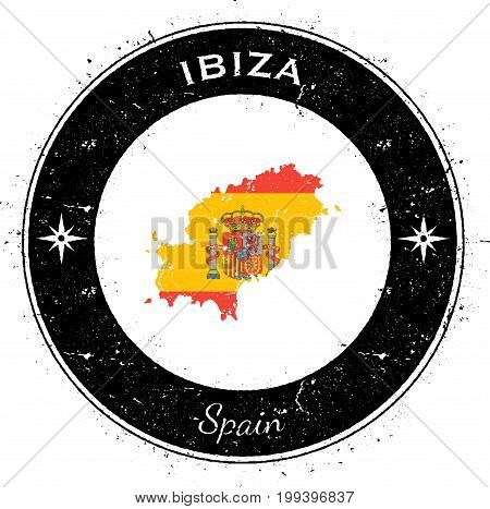 Ibiza Circular Patriotic Badge. Grunge Rubber Stamp With Island Flag, Map And Name Written Along Cir
