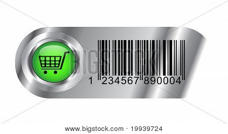 Metallic Buy Button With Bar Code And Cart
