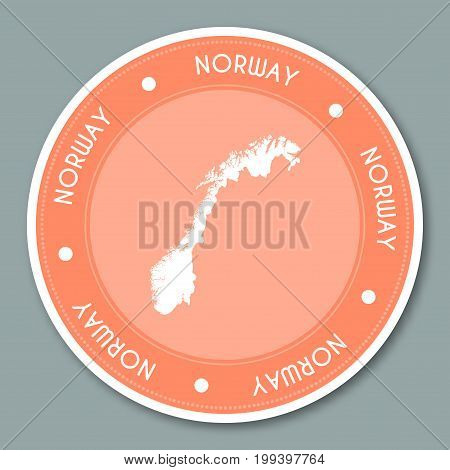 Norway Label Flat Sticker Design. Patriotic Country Map Round Lable. Country Sticker Vector Illustra