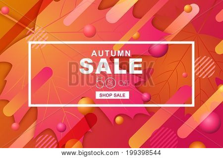 Autumn Sale Horizontal Banners With Paper Maple Leaves And Motion Geometric Shapes. Vector Fall Post