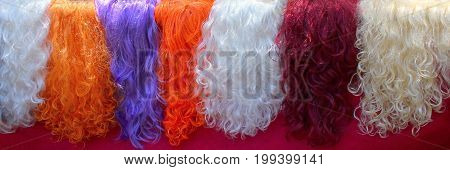 Women's multi-colored wigs, white, orange, red, blue, in one line hairdresser