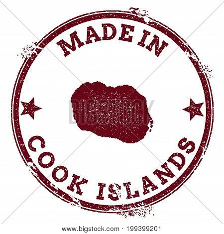 Cook Islands Seal. Vintage Island Map Sticker. Grunge Rubber Stamp With Made In Text And Map Outline
