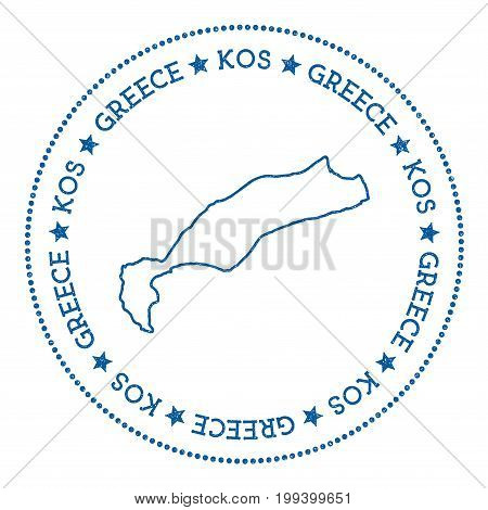 Kos Map Sticker. Hipster And Retro Style Badge. Minimalistic Insignia With Round Dots Border. Island