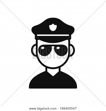 Police officer black and white cartoon icon. Classic American cop with sunglasses vector illustration.