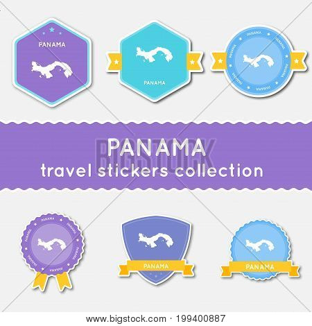 Panama Travel Stickers Collection. Big Set Of Stickers With Country Map And Name. Flat Material Styl