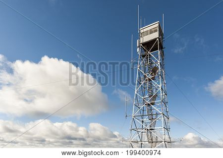 Fire lookout tower at summit of Wachusett Mountain