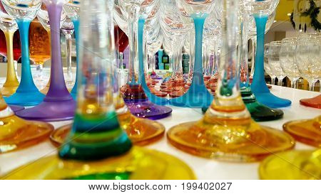 Group of colorful cocktail in martini glasses