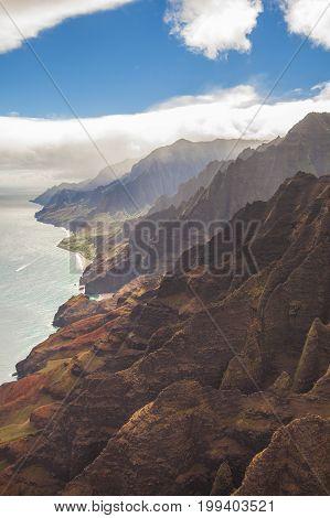 napali coast kawaii hawaii aerial view in summer