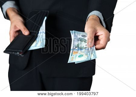 The businessman took dollar out of his wallet for pay or donation with white background.