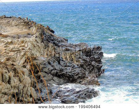 Coastline and rugged lava rocks geological worn marvels called Dragon's Teeth and crashing waves in the ocean sea at Makaluapuna Point near Kapalua, Maui, HI, USA