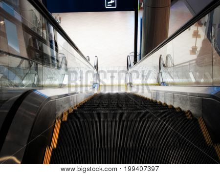 close up shot of escalator in airport