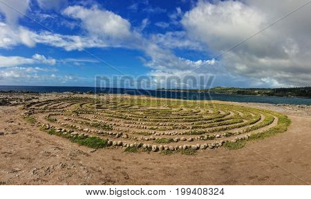 Kapalua Labyrinth by Dragon's Teeth formation, Coastline at Makaluapuna Point includes a complex maze of labyrinth near Kapalua, Maui, HI, USA