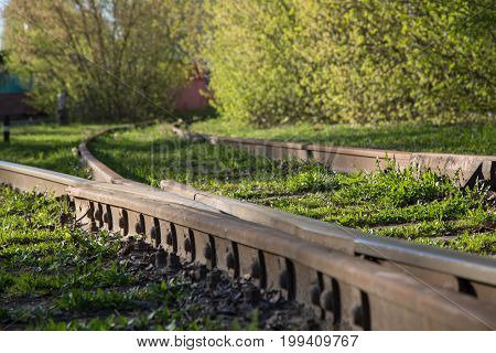Old railway iron path nature close up concept journey