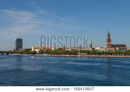 RIGA, LATVIA - 12 JUN 2016: Old town summer day view with Daugava river
