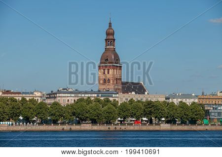 Old town summer day view with Daugava river and Dome church