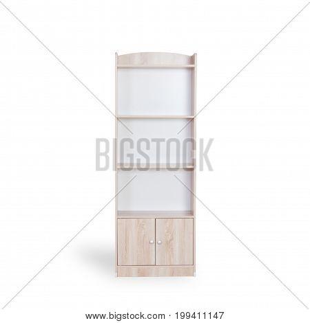 Empty Bookshelf Isolated On White Background With Space For Copy And Clipping Path.