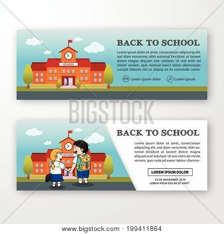 student and school building background banner design