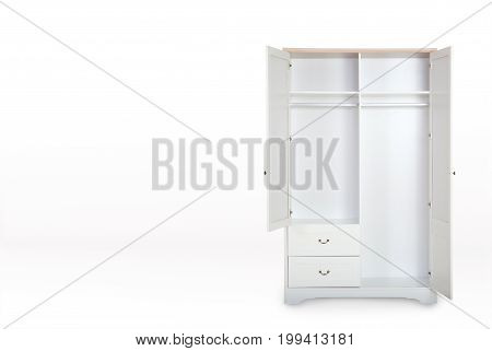 Entry Open White Wardrobe Isolated On White Background With Space For Copy.