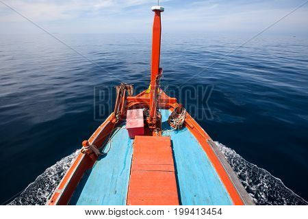 Head Of Thai Local Fisherman Boats Is Running Go To Sea For Catch Fish