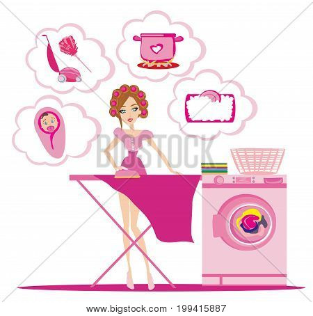 Woman irons clothes and thinks of other homework , vector illustration