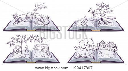 Set open book fable illustration. Vector drawing
