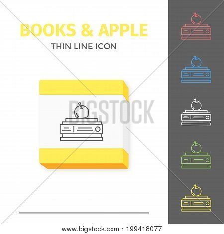 Thin lined learning book icon. Vector isolated on white outlined sign of pile of different closed books in front view with apple.