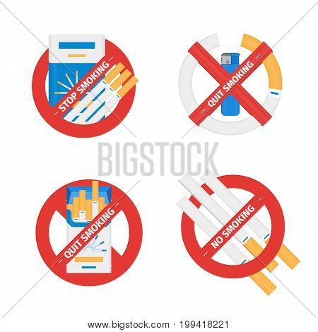 Isolated vector flat concept set of sign of stop smoking cigarette. Design of quit smoking tobacco addiction symbols on white background.