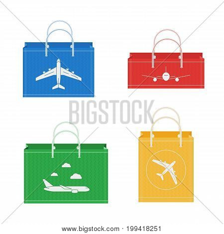 Vector flat icon of shopping bags with airplanes in Duty Free shop at airport. Isolated on white background illustration of different paper bags for goods for tax free airport shopping.