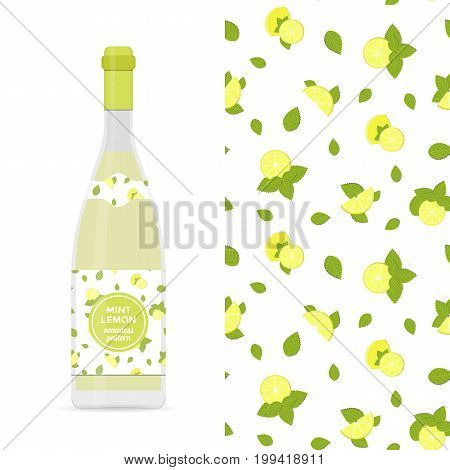 Lemon and mint vector colorful seamless pattern for design of holiday decoration, greeting card, gift wrapping paper, lemonade bottle. Vector cheerful endless background with lemon slice and mint leaf