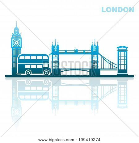 Abstract landscape of architectural landmarks of London