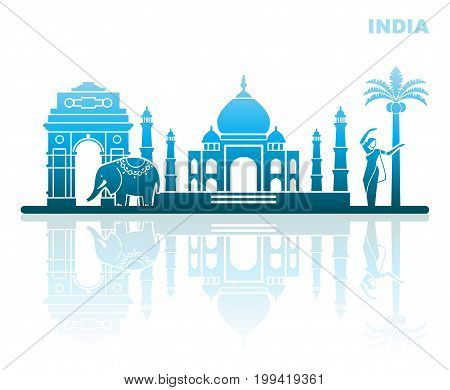 Abstract landscape with attractions of India. Vector Illustration