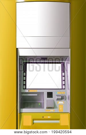 Atm Machine With Blank Space For Advertising.