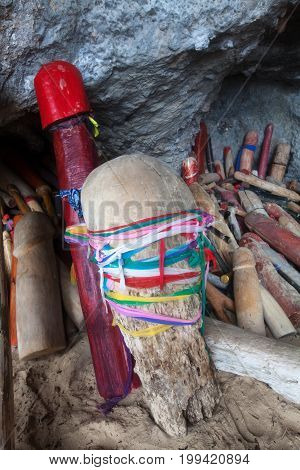 Wooden Phalluses In Pranang Cave. South Railay Beach In Krabi, Thailand.this Is A Beliefs Of Here Am
