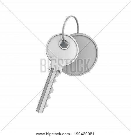 3d rendering of a single silver key with label isolated on white background. Lock and key. Safety and protection. Security and insurance.