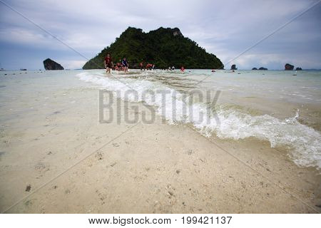 Seascape Low Seawater Is Unseen Thailand On Ao Phra Nang At Krabi Province.
