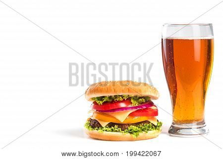 Tasty Big Burger And Glass Of Beer Isolated