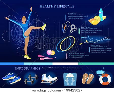 Healthy lifestyle banner eating diet sports and gymnastics infographic. Fitness training. Sport for weight loss a slim figure a healthy lifestyle