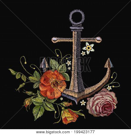 Anchor red roses and peoines embroidery. Classical fashionable embroidery vintage anchor beautiful red bouquets of roses and peonies template for clothes textile t-shirt design fashion template