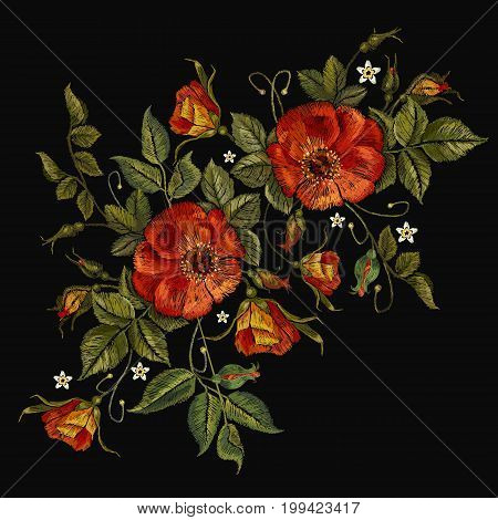 Embroidery wild roses dogrose flowers. Fashionable template tapestry flowers renaissance. Classic style embroidery beautiful dogrose pattern vector. Vintage buds of wild roses on black background