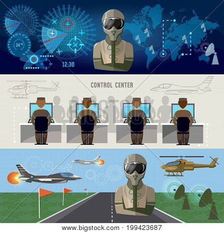 Modern military center radar screen with planes. Army air force banner planes and helicopters military pilot air doctrines